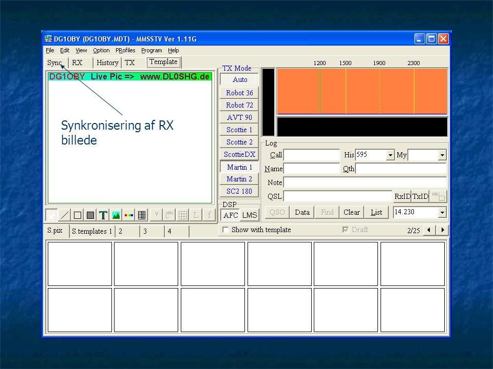 Synkronisering af RX billede