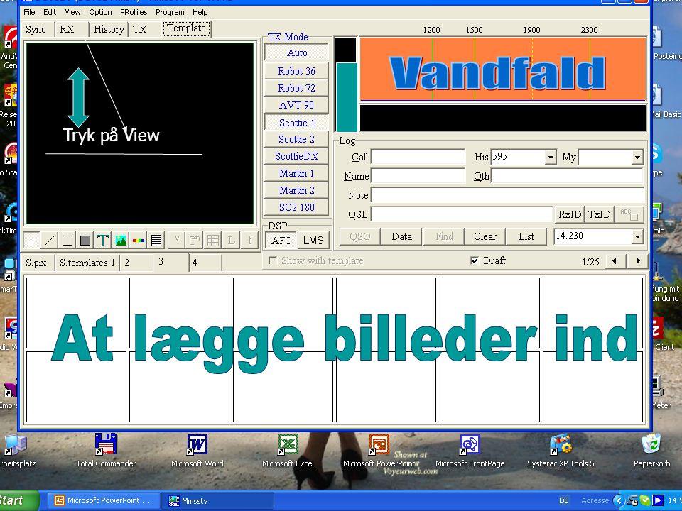 Vandfald Tryk på View At lægge billeder ind Bilder in SSTV legen..