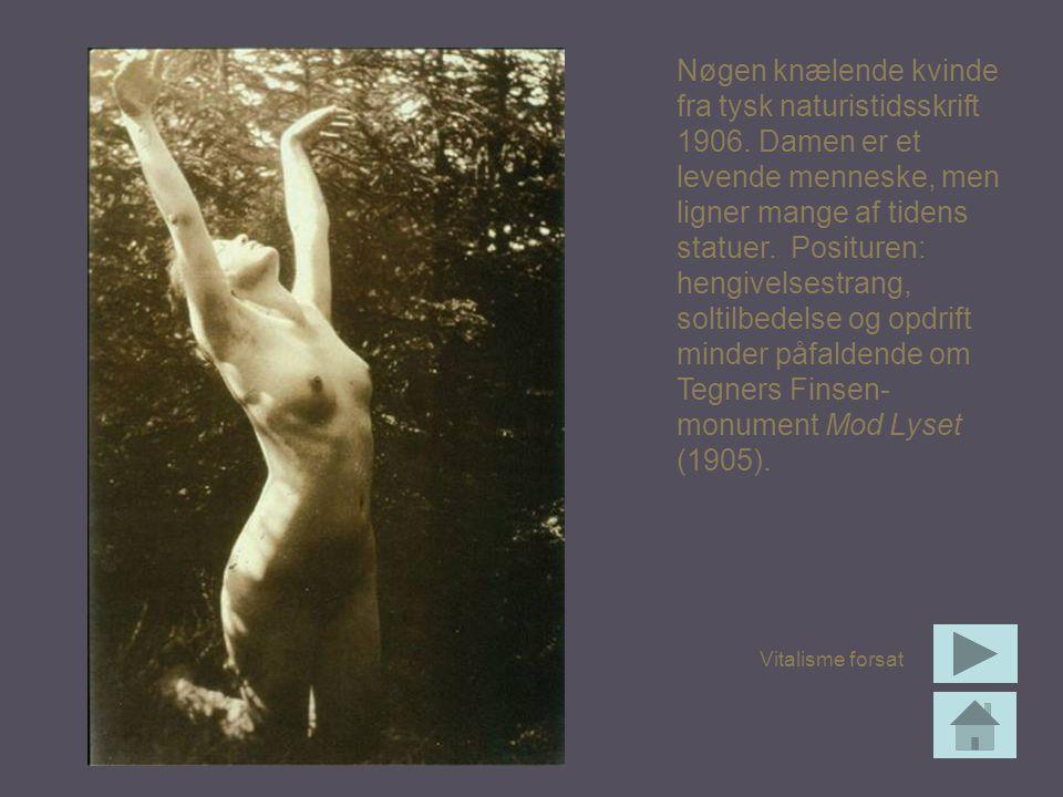 Nøgen knælende kvinde fra tysk naturistidsskrift 1906