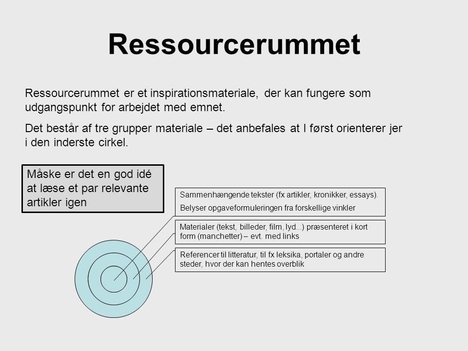 Ressourcerummet Ressourcerummet er et inspirationsmateriale, der kan fungere som udgangspunkt for arbejdet med emnet.