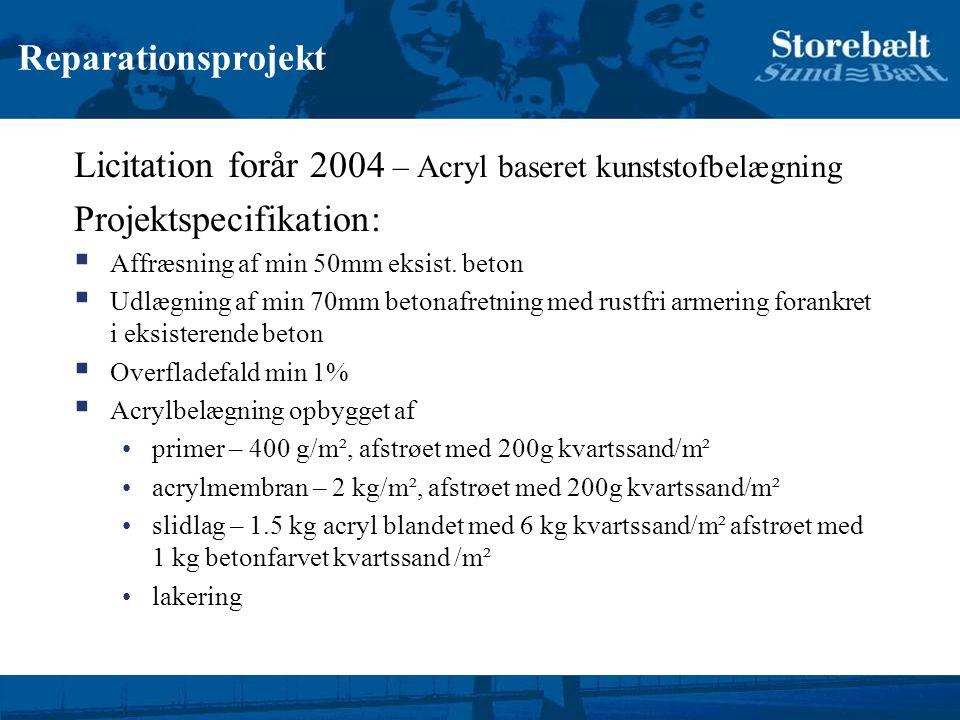 Licitation forår 2004 – Acryl baseret kunststofbelægning