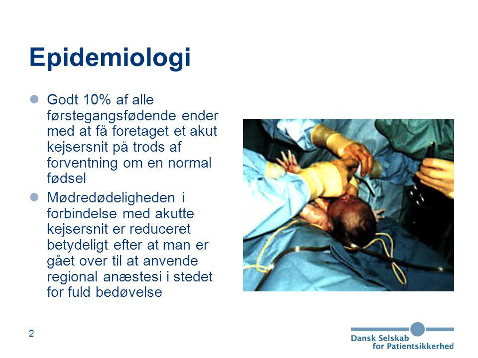Epidemiologi Godt 10% af alle førstegangsfødende ender med at få foretaget et akut kejsersnit på trods af forventning om en normal fødsel.