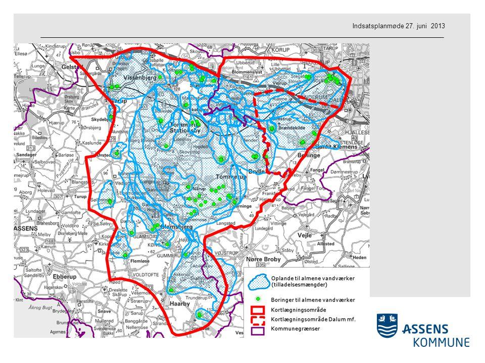 Områdeudpegning Indvindingsoplande og boringer Miljø og Natur