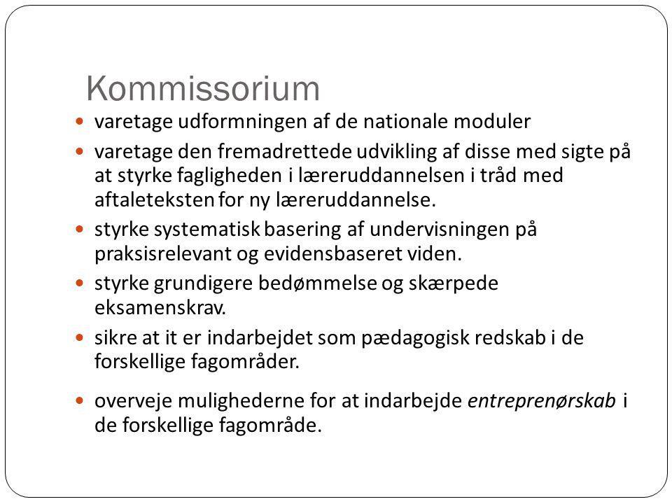 Kommissorium varetage udformningen af de nationale moduler