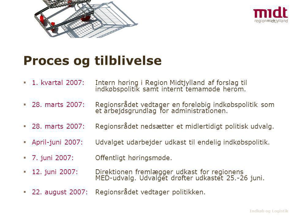 Proces og tilblivelse 1. kvartal 2007: Intern høring i Region Midtjylland af forslag til indkøbspolitik samt internt temamøde herom.