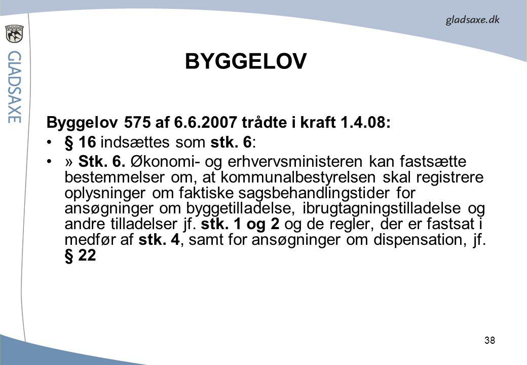 BYGGELOV Byggelov 575 af 6.6.2007 trådte i kraft 1.4.08: