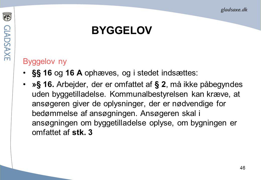 BYGGELOV Byggelov ny §§ 16 og 16 A ophæves, og i stedet indsættes: