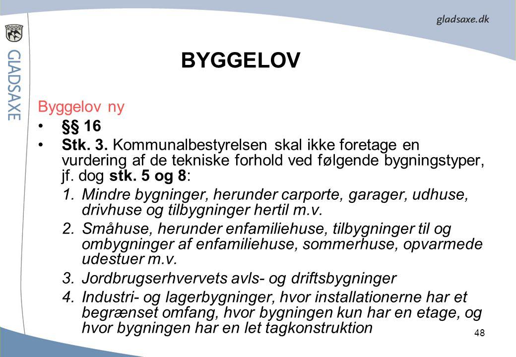 BYGGELOV Byggelov ny §§ 16