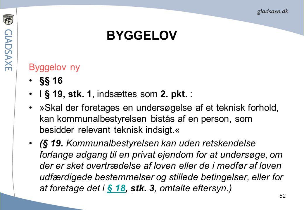 BYGGELOV Byggelov ny §§ 16 I § 19, stk. 1, indsættes som 2. pkt. :