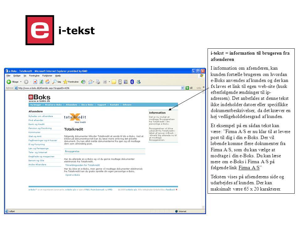 i-tekst i-tekst = information til brugeren fra afsenderen