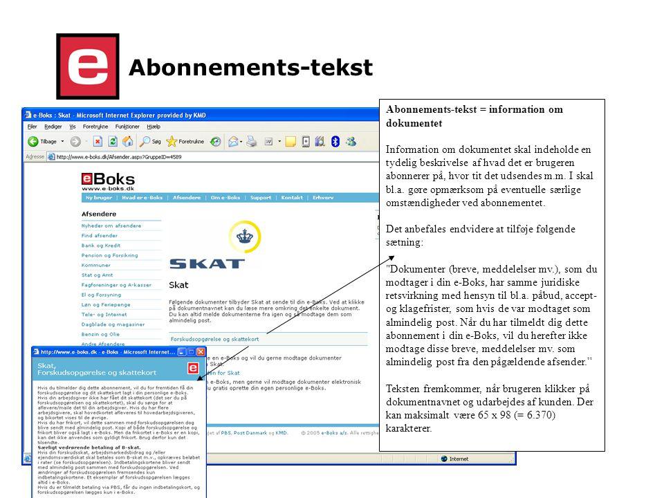 Abonnements-tekst Abonnements-tekst = information om dokumentet