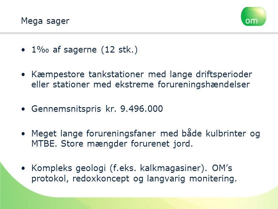 Mega sager 1‰ af sagerne (12 stk.) Kæmpestore tankstationer med lange driftsperioder eller stationer med ekstreme forureningshændelser.