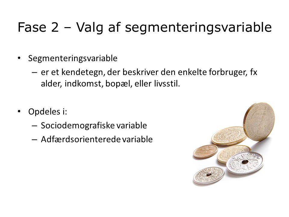 Fase 2 – Valg af segmenteringsvariable
