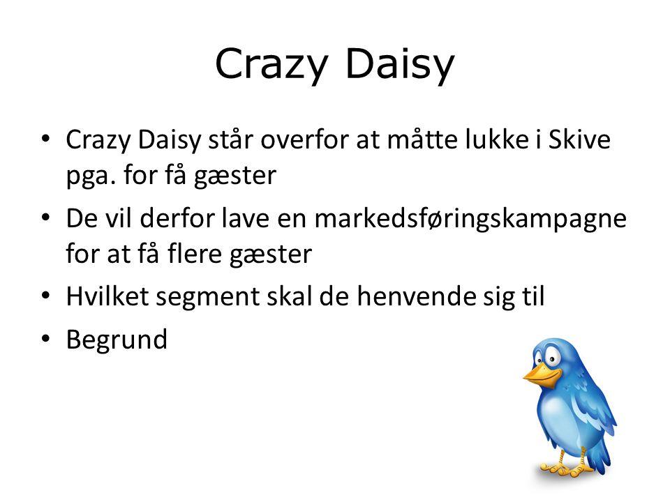 Crazy Daisy Crazy Daisy står overfor at måtte lukke i Skive pga. for få gæster. De vil derfor lave en markedsføringskampagne for at få flere gæster.