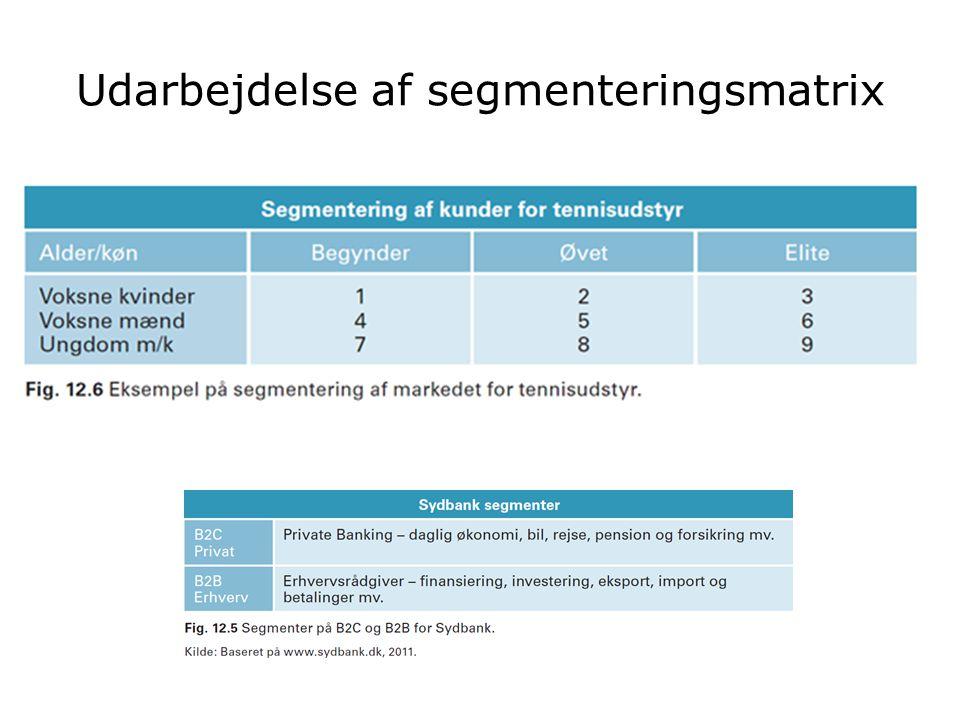 Udarbejdelse af segmenteringsmatrix