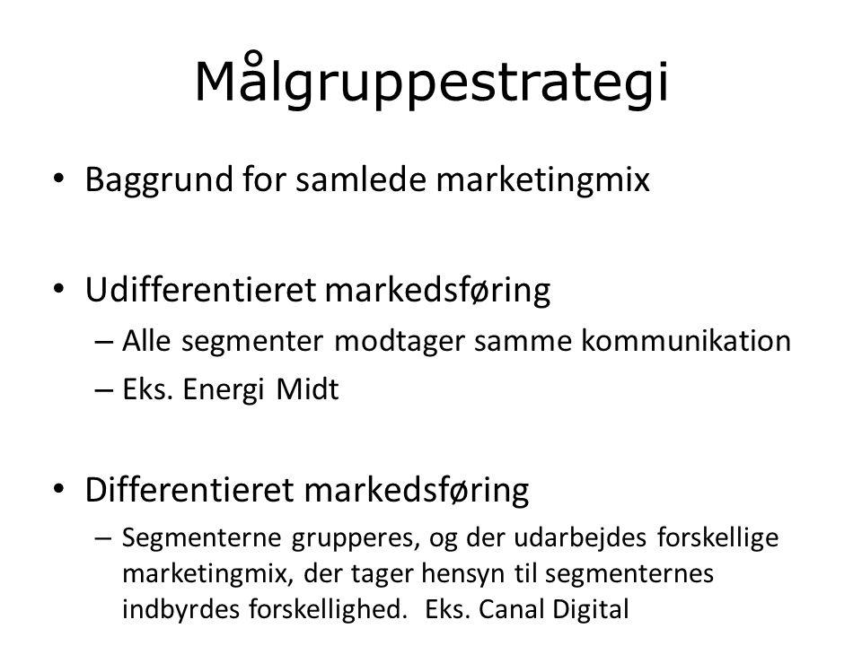 Målgruppestrategi Baggrund for samlede marketingmix