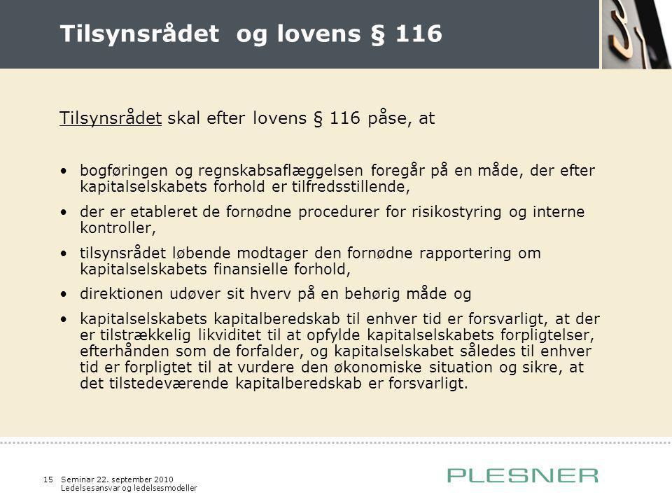 Tilsynsrådet og lovens § 116