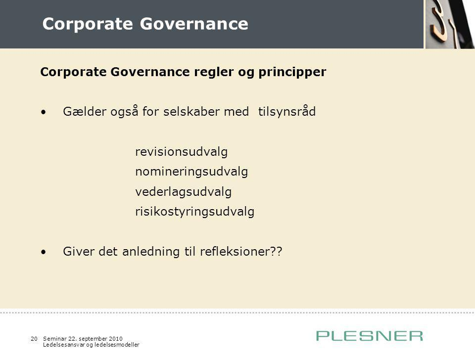 Corporate Governance Corporate Governance regler og principper