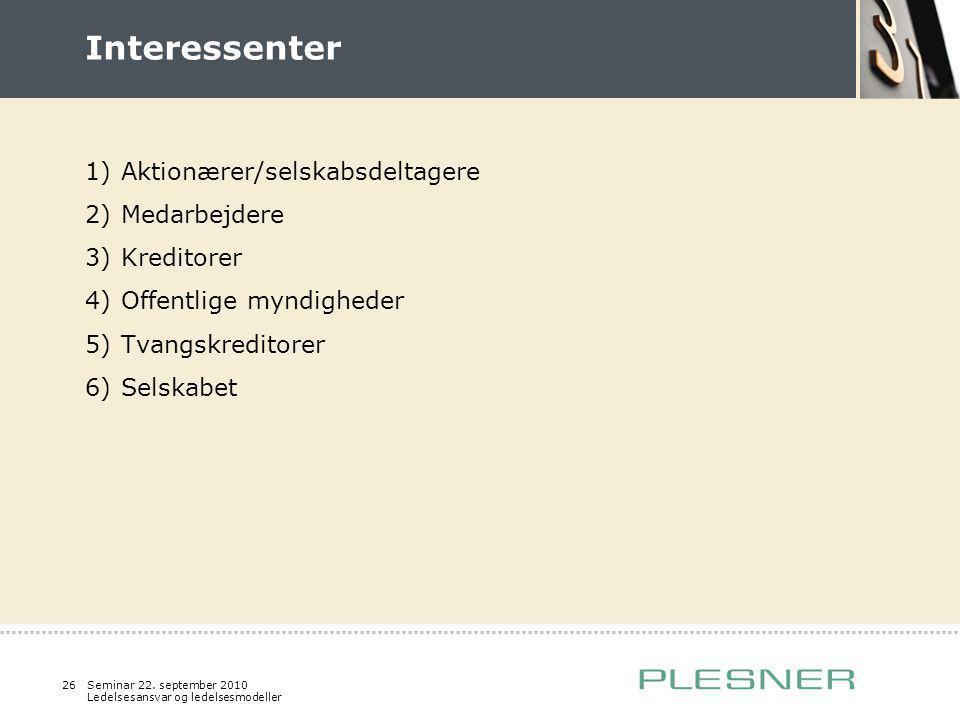 Interessenter Aktionærer/selskabsdeltagere Medarbejdere Kreditorer