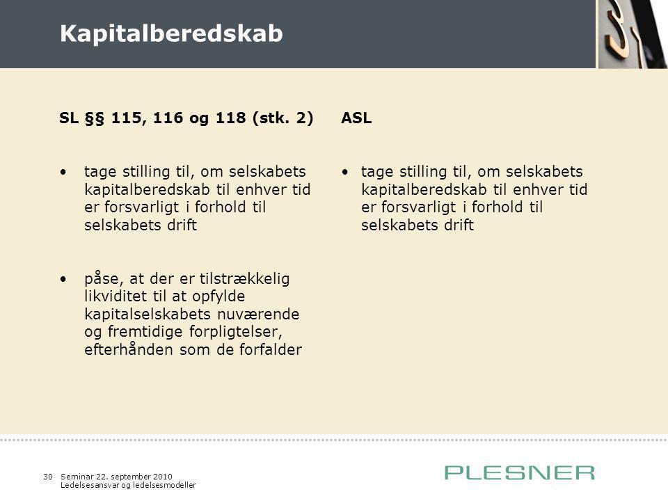 Kapitalberedskab SL §§ 115, 116 og 118 (stk. 2)