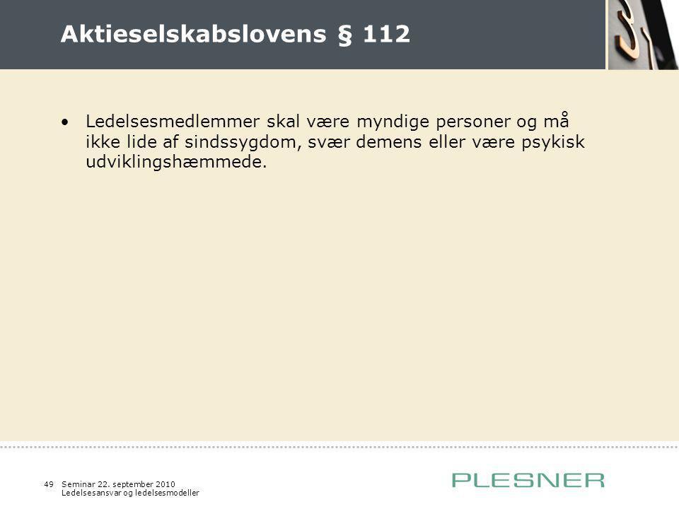 Aktieselskabslovens § 112