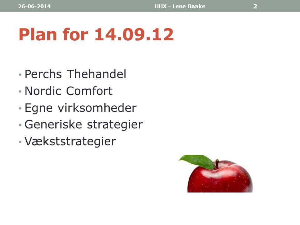 Plan for 14.09.12 Perchs Thehandel Nordic Comfort Egne virksomheder