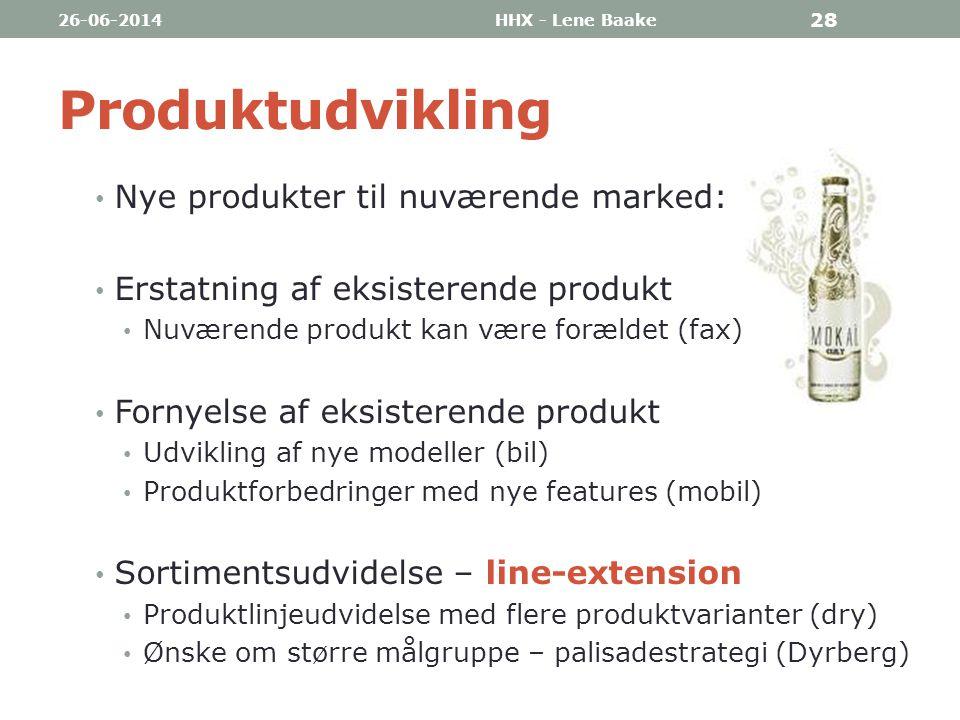 Produktudvikling Nye produkter til nuværende marked: