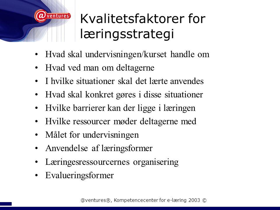 Kvalitetsfaktorer for læringsstrategi