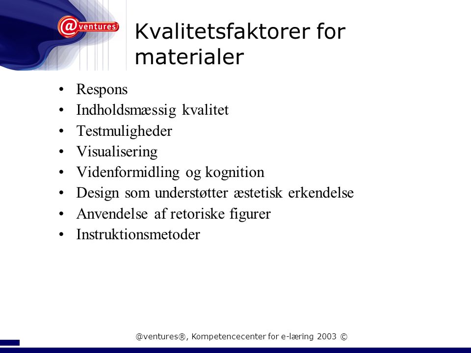 Kvalitetsfaktorer for materialer