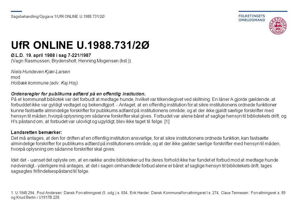 UfR ONLINE U.1988.731/2Ø Ø.L.D. 19. april 1988 i sag 7-221/1987
