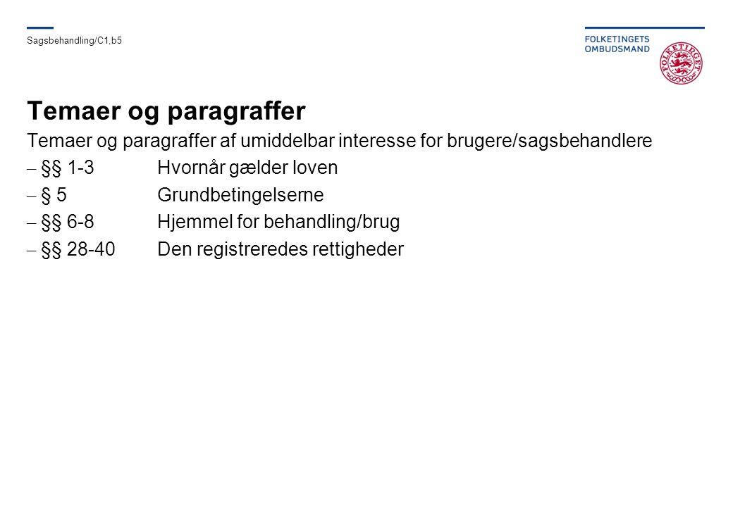 Sagsbehandling/C1,b5 Temaer og paragraffer. Temaer og paragraffer af umiddelbar interesse for brugere/sagsbehandlere.