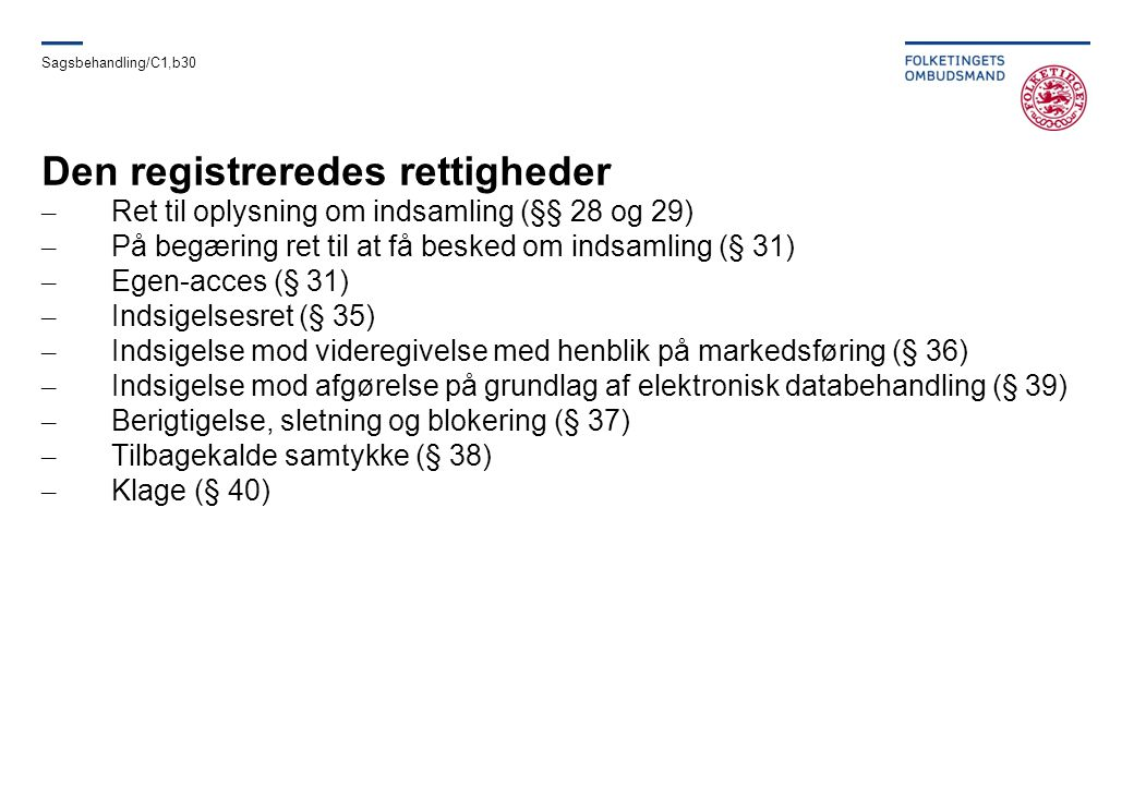 Den registreredes rettigheder