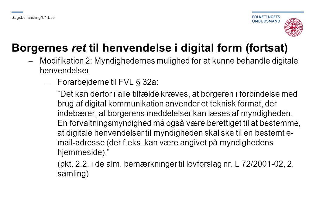 Borgernes ret til henvendelse i digital form (fortsat)