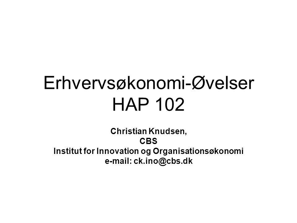 Erhvervsøkonomi-Øvelser HAP 102