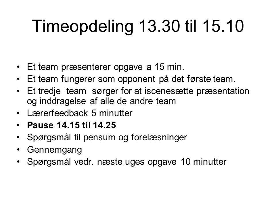 Timeopdeling 13.30 til 15.10 Et team præsenterer opgave a 15 min.