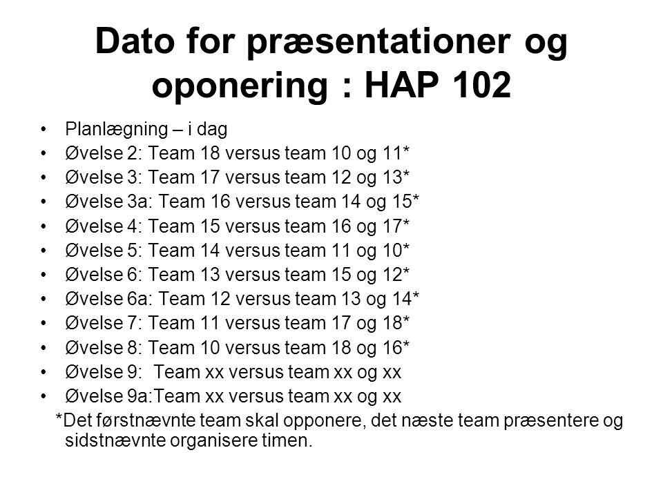 Dato for præsentationer og oponering : HAP 102