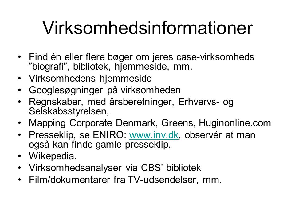 Virksomhedsinformationer