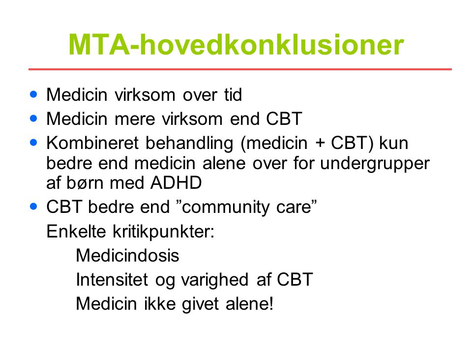 MTA-hovedkonklusioner