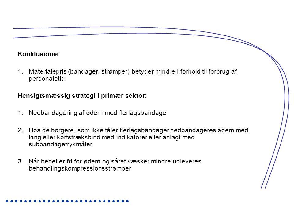 Konklusioner Materialepris (bandager, strømper) betyder mindre i forhold til forbrug af personaletid.