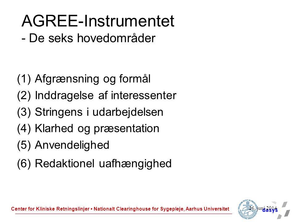 AGREE-Instrumentet - De seks hovedområder