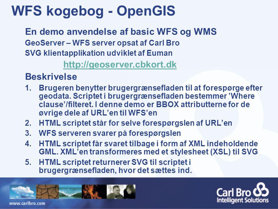 WFS kogebog - OpenGIS En demo anvendelse af basic WFS og WMS