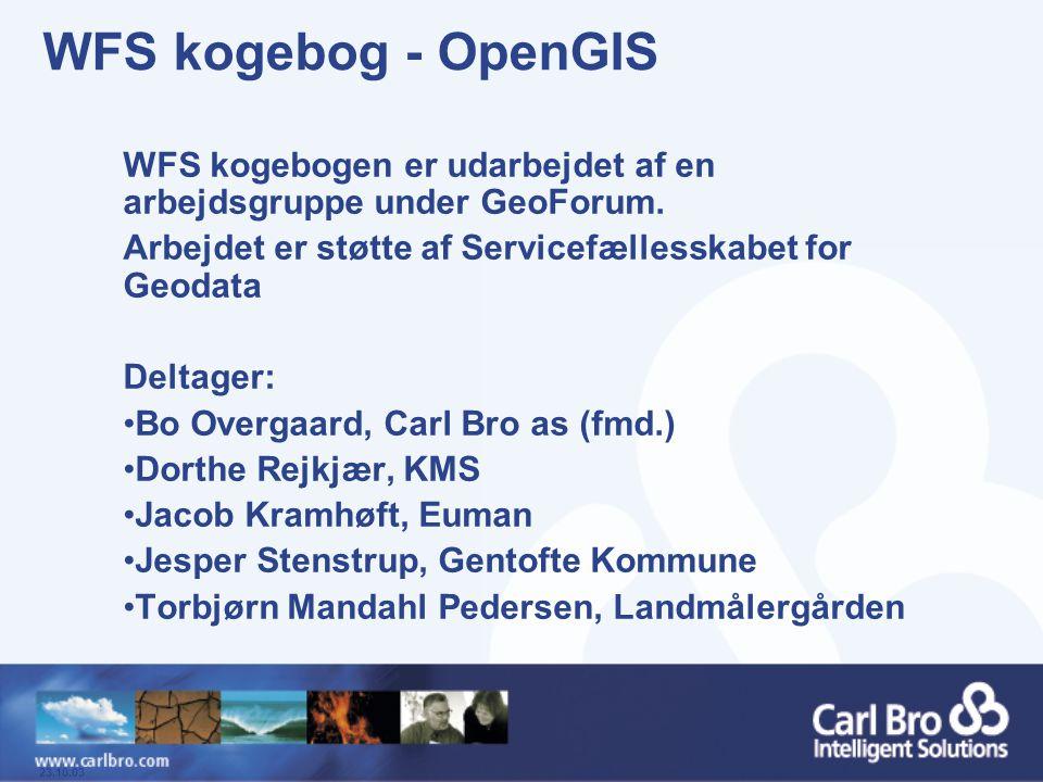 WFS kogebog - OpenGIS WFS kogebogen er udarbejdet af en arbejdsgruppe under GeoForum. Arbejdet er støtte af Servicefællesskabet for Geodata.