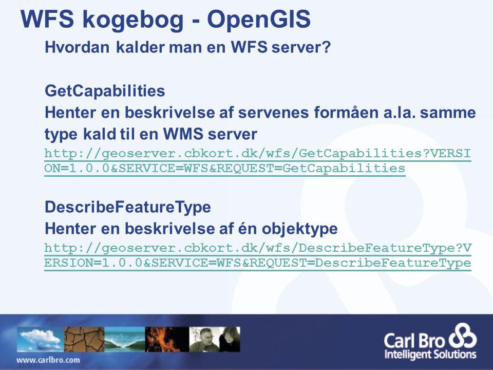 WFS kogebog - OpenGIS Hvordan kalder man en WFS server
