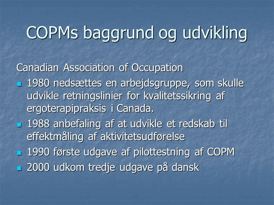 COPMs baggrund og udvikling