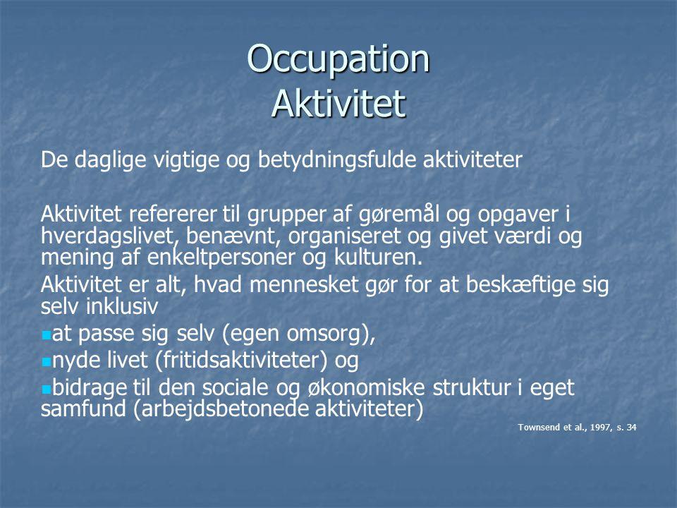 Occupation Aktivitet De daglige vigtige og betydningsfulde aktiviteter