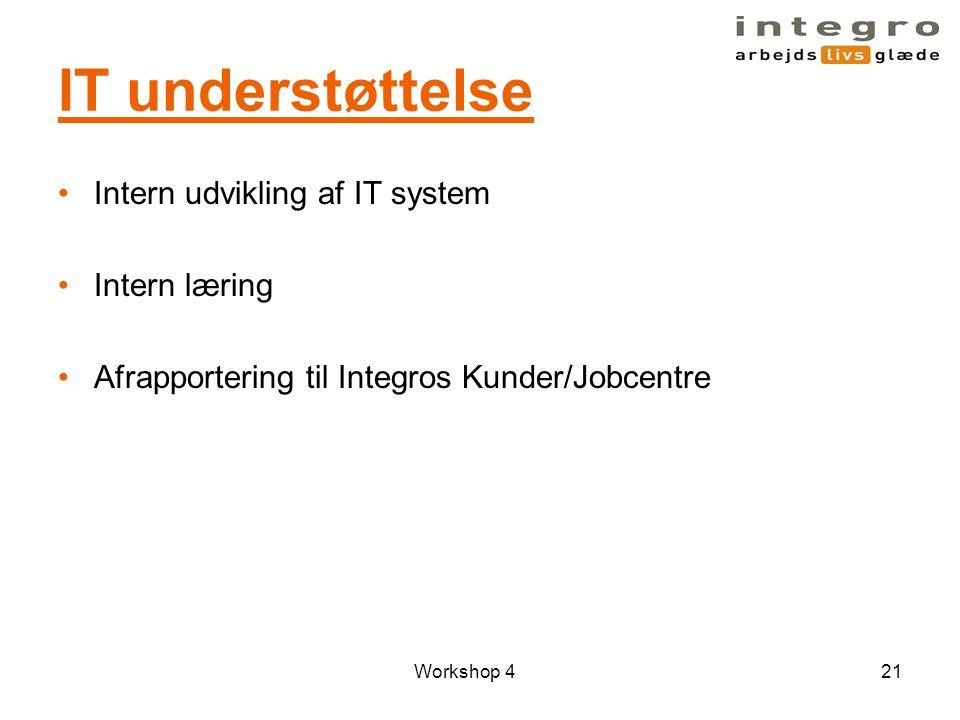 IT understøttelse Intern udvikling af IT system Intern læring