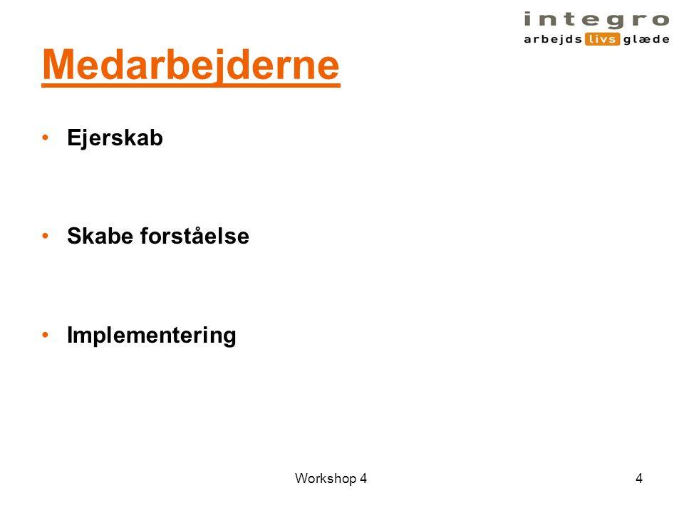 Medarbejderne Ejerskab Skabe forståelse Implementering Workshop 4