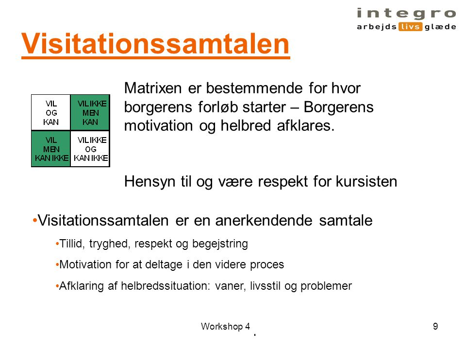 Visitationssamtalen Matrixen er bestemmende for hvor borgerens forløb starter – Borgerens motivation og helbred afklares.