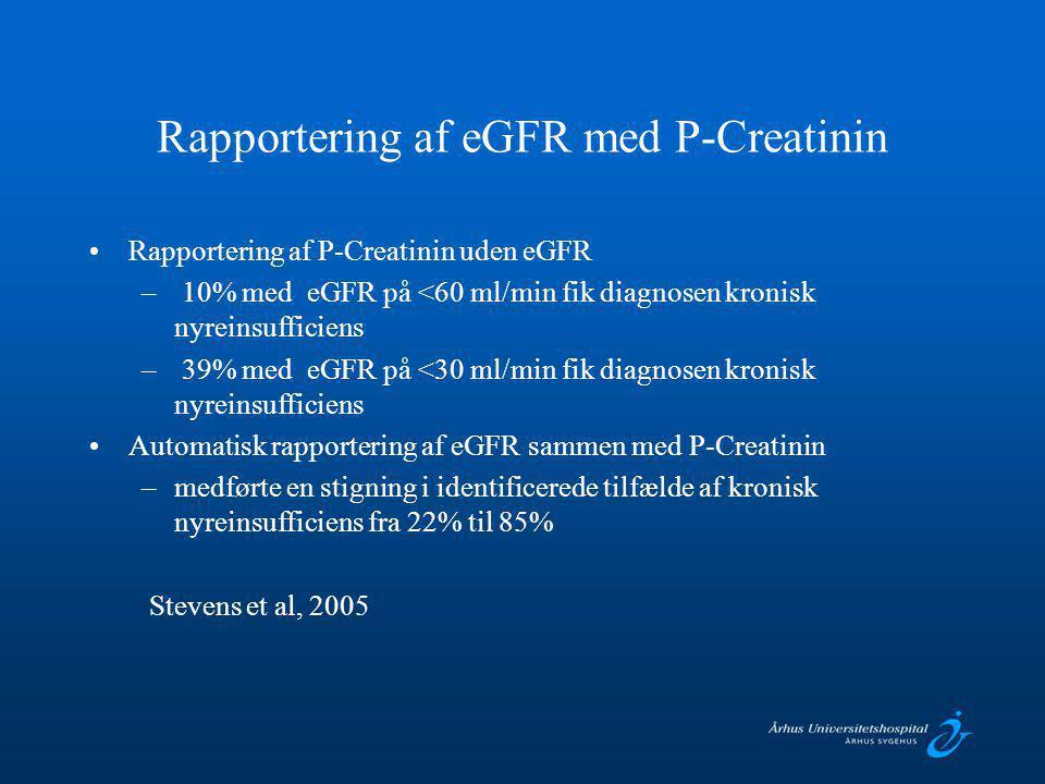 Rapportering af eGFR med P-Creatinin