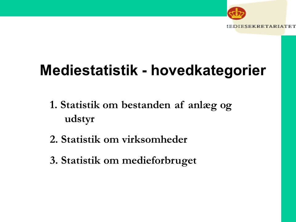 Mediestatistik - hovedkategorier